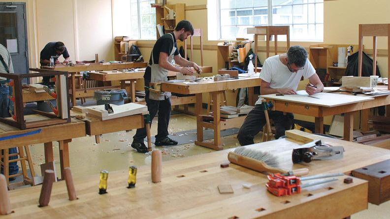 Student learning woodworking