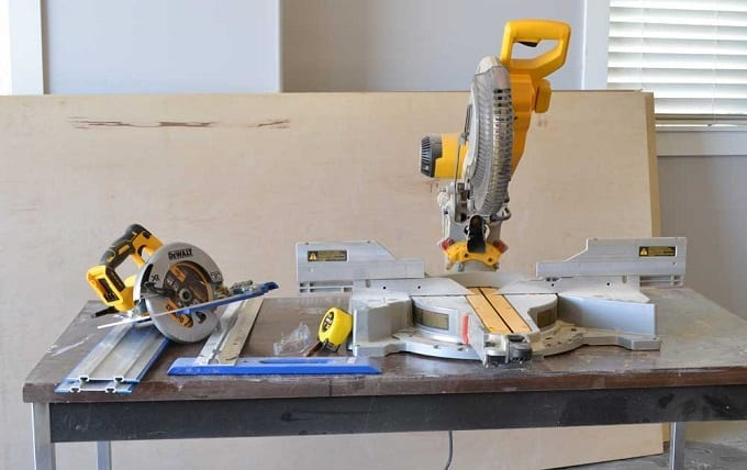 Circular And Miter Saws On Table